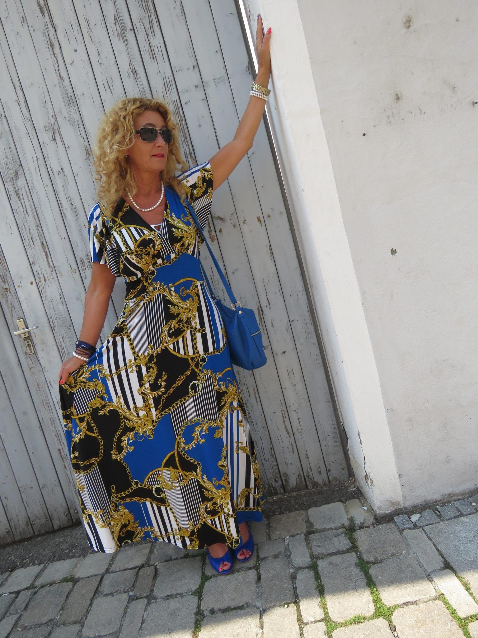 gemusterte Maxikleider, Trend Herbst 2018, Versace-Style, Versace-Design