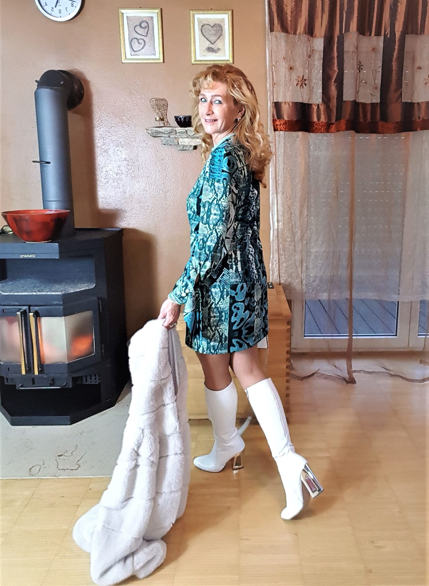 farbiger Animal-Print, Kleid mit Manschetten-Ärmel